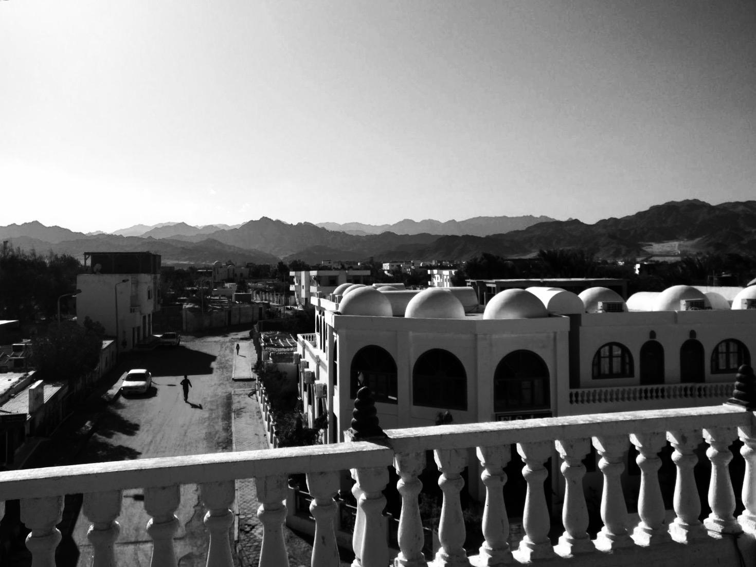 Blick von der Dachterrasse des CoWorkInns Dahab
